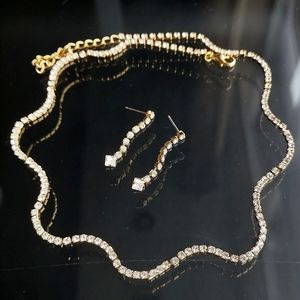 NWT Crystal WAVES necklace earring set
